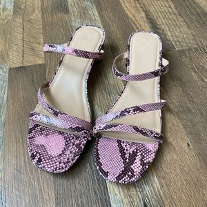 Urban Outfitters Claudia Pink Snakeskin Heels